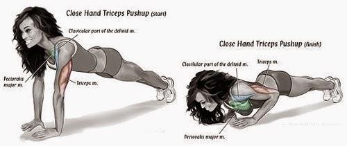 Close-grip push ups